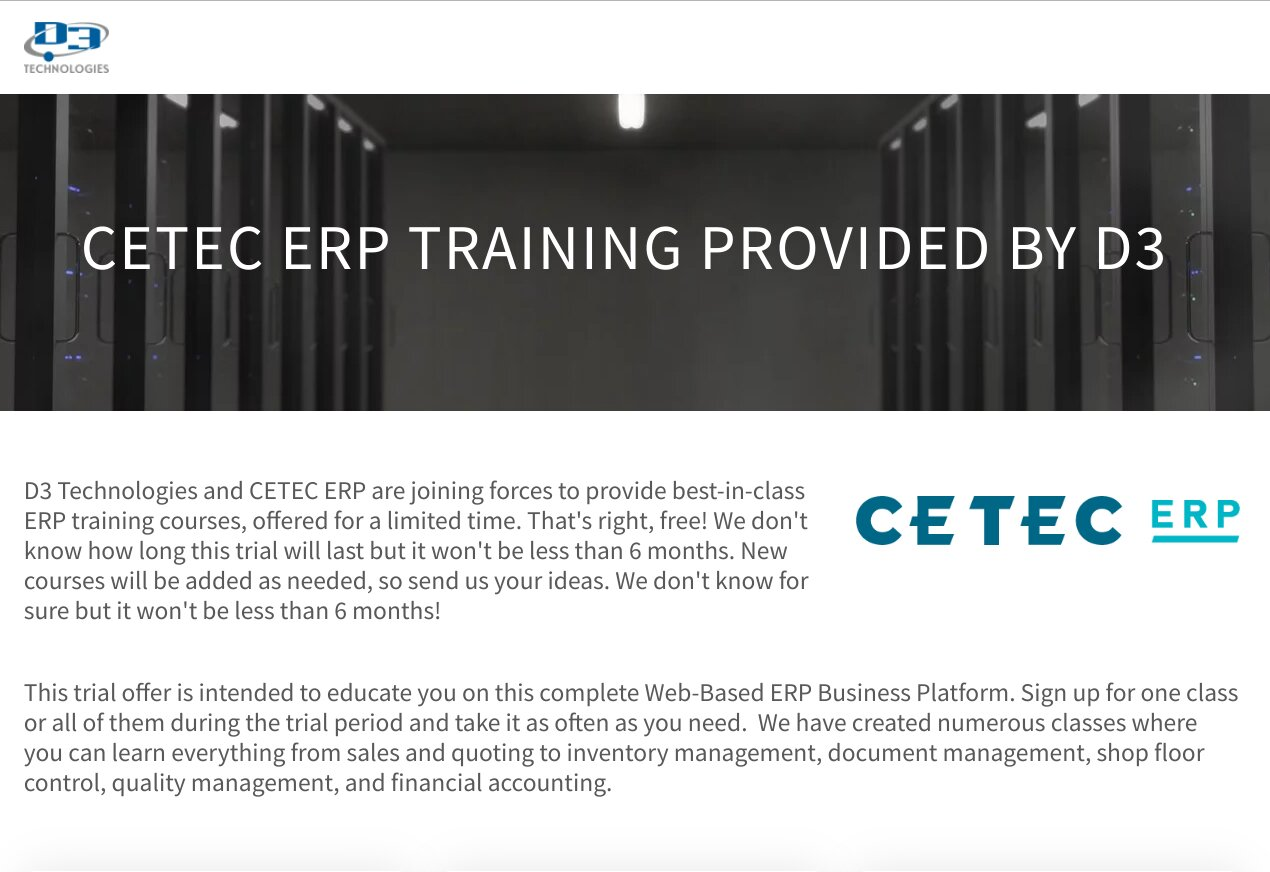 Cetec ERP Training Courses.
